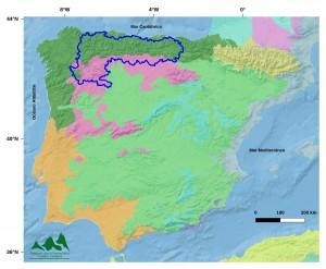 Regiones ecogeográficas de la Península Ibérica2. Relieve y fondo marino obtenidos de Natural Earth (naturalearthdata.com)
