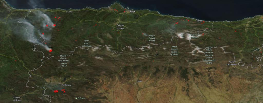 Fuegos en el norte de la Península Ibérica (21 de abril de 2017). Nasa Worldview, anomalías térmicas.